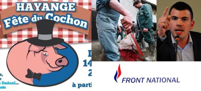 Hayange fete cochon Fabien Engelmann extreme droite aid mouton tue le saigne