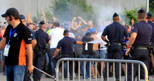 bastia psg crorse incident hooligan emeute banque crs