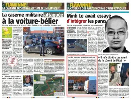 Flawinne Minh Le Van namur attaque terrorisme caserne belgique journaux