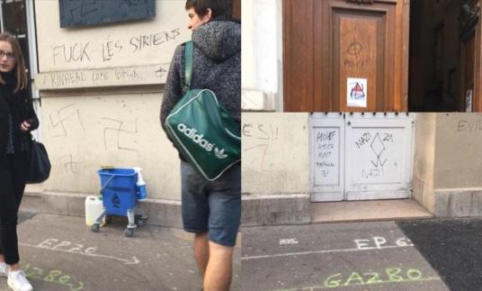tag raciste antisemite lycee mantaigne paris skinhead  migrant syrien croix gammee