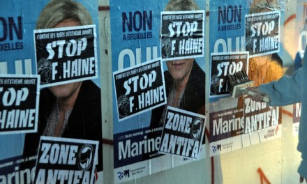 Cherbourg le 07 avril 2014. Collage contre la venue de Marine Le Pen.