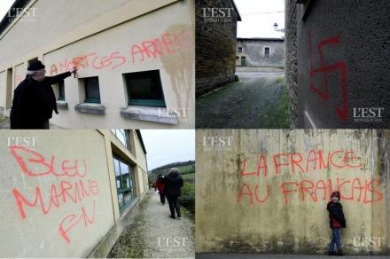 Tags racistes et pro FN sur une école de Marville a mort les arabes bleu marine