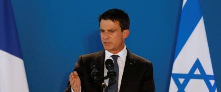Valls delivers a speech during the inauguration of the Zmorot solar plant built and operated by France's EDF Energies Nouvelles near Ashkelon