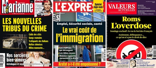 Unes journaux racsites presse francaise roms immigration tribus chinois gitans roumains nors arabes