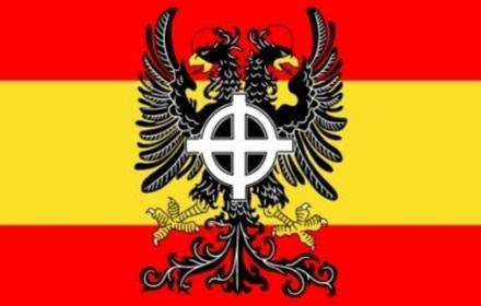drapeau espahnol espagne fasciste franco croix celtique