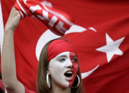 Turkey fan waits before their Euro 2008 soccer match against Switzerland in Basel