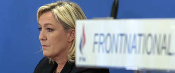 Leader of the French far-right National Front (FN) party, Marine Le Pen speaks during a press conference focused on regional elections in Nanterre, outside Paris, on February 17, 2015. AFP PHOTO / JACQUES DEMARTHON