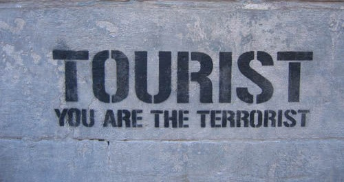 tourist you are the terrorist touristes dehors go home majorque espagne