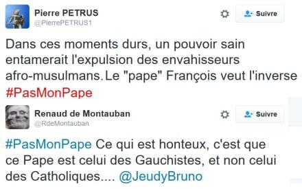 L'extrême droite s'en prend au Pape avec le hashtag #PasMonPape  islam