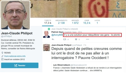 Jean-Claude Philipot, membre du Comité central du FN, relai un appel au meurtre sur twitter